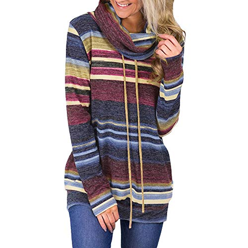 Oksale Women Cowl Neck Striped Long Sleeve Drawstring Pullover Top Sweatshirt Pockets (Dark Blue, M)
