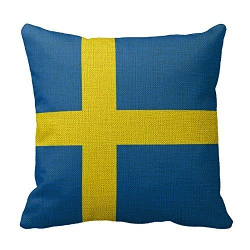 Nextchange Cotton Linen Square Decorative Sweden Flag X Flag Pillowcase Decorative Square Decor Throw Pillow Case Cover 20x20 inches