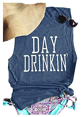 Day Drinking Tank for Women Funny Letters Print Casual T-Shirt (L, Ink)]()
