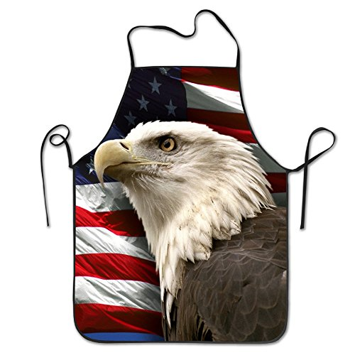 Bald Eagle Adjustable Apron For Kitchen BBQ Barbecue Cooking Women's Men's Great Gift For Wife Ladies Men (Canvas Barbecue Apron)
