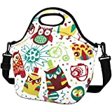 Insulated Lunch Bag, Nuovoware Neoprene Lunch Tote Reusable Picnic Bag Soft Thermal Cooler Tote Multi-purpose Grocery Container with Adjustable Crossbody Strap, Zip Closure, Multicolor Owl