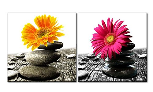 Canvas Print Wall Art Painting Home Decor Floral Still Life Black Zen Stones Yellow Daisy Gerbera in Black White Red On Wintage Wood in Spa Style 2 Pieces Panel Paintings Modern Giclee