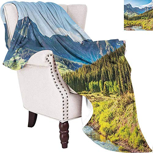 MKOK Landscape Luxury Special Grade Blanket Mountain Vista Thick Forest Trees Mountain Flowing River Grass Cloudy Sky Valley Multi-Purpose use for Sofas etc. W60 x L50 Inch Multicolor (Sofa Valley Vista)