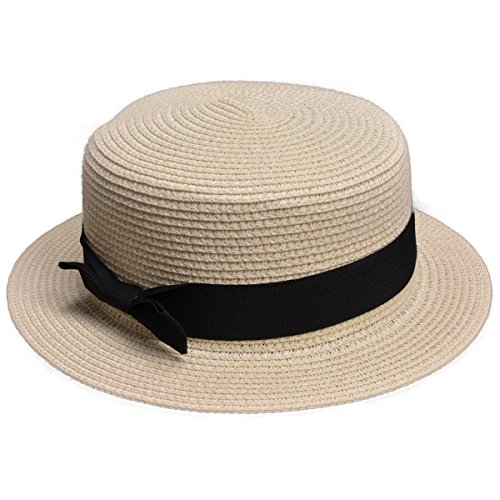 Lawliet Womens Straw Boater Hat Fedora Panama Flat Top Ribbon Summer A456 (Ivory)]()