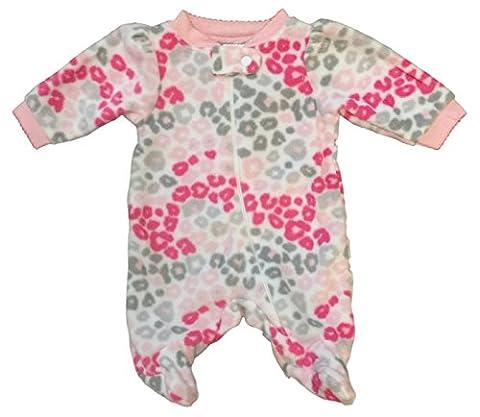 Garanimals Preemie Sleeper for Baby Girls Micro Fleece Footed Sleep n Play (Preemie, Pink Grey - Girls Pink Sleeper