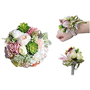 Florashop Wedding Bouquet+Corsage+Boutonniere Package 7.9 inch Satin Roses Silk Peony Artificial Succulents Bridal Holding Flower Bouquet with Wrist Corsage Band and Groom Bridegroom Boutonniere 85