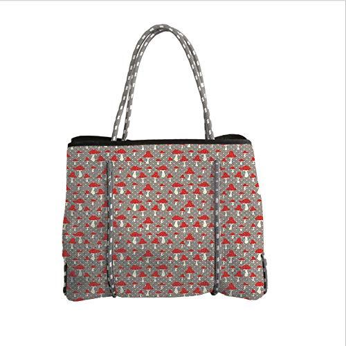 iPrint Neoprene Multipurpose Beach Bag Tote Bags,Mushroom,Cute Amanita Mushrooms Pattern with Polka Dotted Backdrop Cartoon Toadstool,Taupe Cream Red,Women Casual Handbag Tote Bags