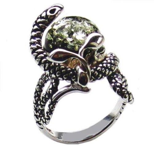 Sterling Silver Green Amber Snake Ring