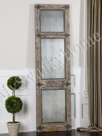 Amazon.com: Antiqued Rustic Blue Gray Wood Wall / Floor Mirror ...