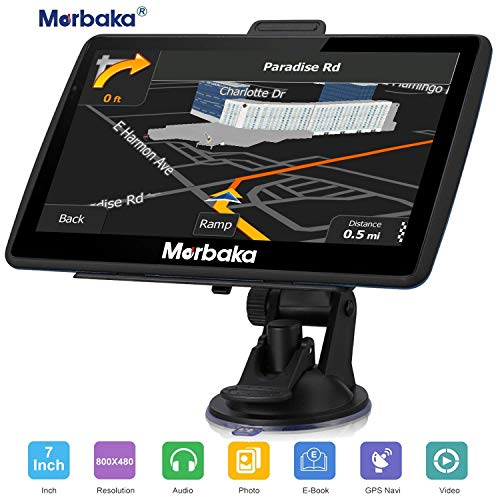 Marbaka GPS Navigation for car, 7 inch HD Capacitive Touch Screen GPS Navigation System with 8G Memory, Attach Sunshade,Free Lifetime Maps Update,Pre-Install Newest North America map