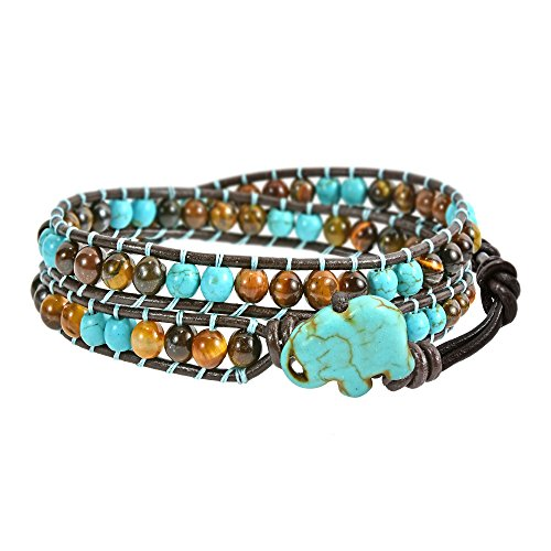 - AeraVida Timeless Wild Elephant Simulated Turquoise and Tiger's Eye Double Wrap Bracelet
