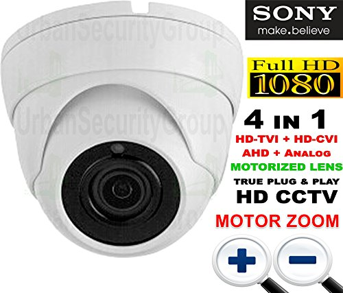 USG Premium Sony Starvis Chipset 2MP 1080P Dome Security Camera with Junction Box : HD-TVI, HD-CVI + Analog BNC Formats : MOTORIZED via UTC 2.8-12mm HD Lens : 18x Square IR LEDs : Business Grade by Urban Security Group