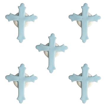 5a9a7eb3c9f36 Comestible en Sucre bébé garçon Bleu pâle baptême Croix Latine Cupcakes pour  gâteaux – Lot de