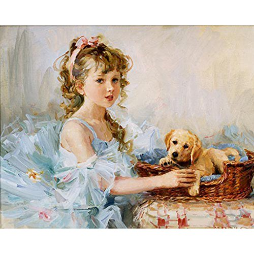 Mimgo Diy Oil Painting, Paint by Number Kit - Girl and Dog - 16