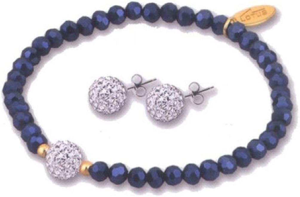 Lotus Silver - Conjunto de pulsera y pendientes color azul oscuro - LP1237-2/3