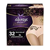 Always Discreet Boutique, Incontinence Underwear for Women, Maximum Protection, Peach, XL, 32 Count