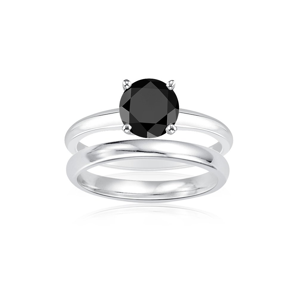 2.00 Cts Black Diamond Engagement and Plain Wedding (3mm comfort fit) Ring Set in Sterling Silver-5.5