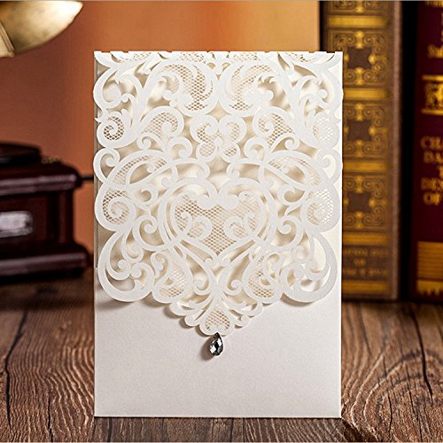 Doris Home Vertical Ivory Classic Style Wedding Invitations Cards Custom with Rhinestone & Laser Cut Flower (100) by Doris Home