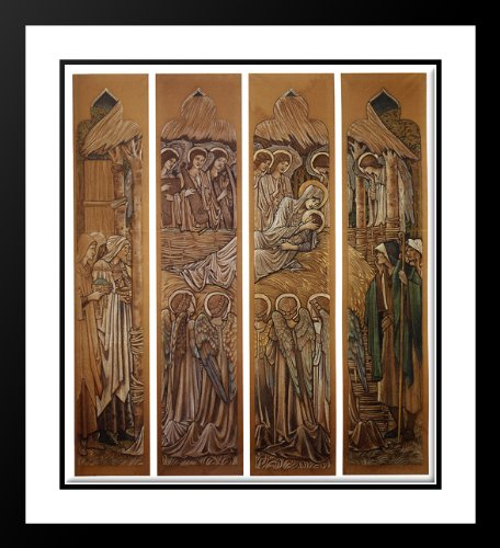 The Nativity, Cartoons For Stained Glass At St. David's Church, Hawarden 25x29 Framed and Double Matted Art Print by Burne Jones, Edward