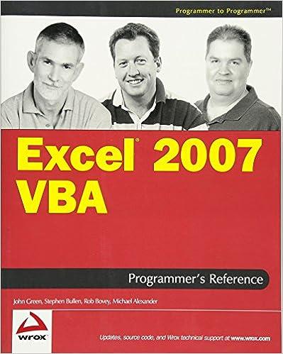 Excel 2007 VBA Programmer's Reference (Programmer to Programmer)