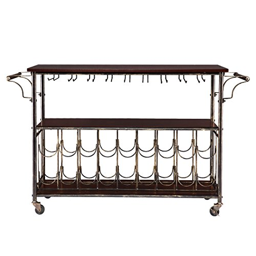 Southern Enterprises Rolden Wine/Bar Cart, Black and Brushed Gold with Espresso Finish - Espresso Wine Cart
