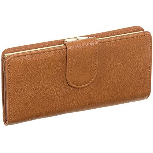 Mundi Women's Leather Suburban Rio Clutch Checkbook Wallet (Tan w/Gold Hardware)