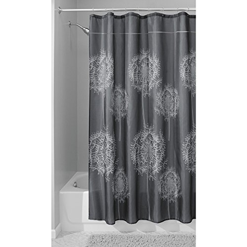 InterDesign Dandelion Fabric Shower Curtain, 72 x 72, Charcoal