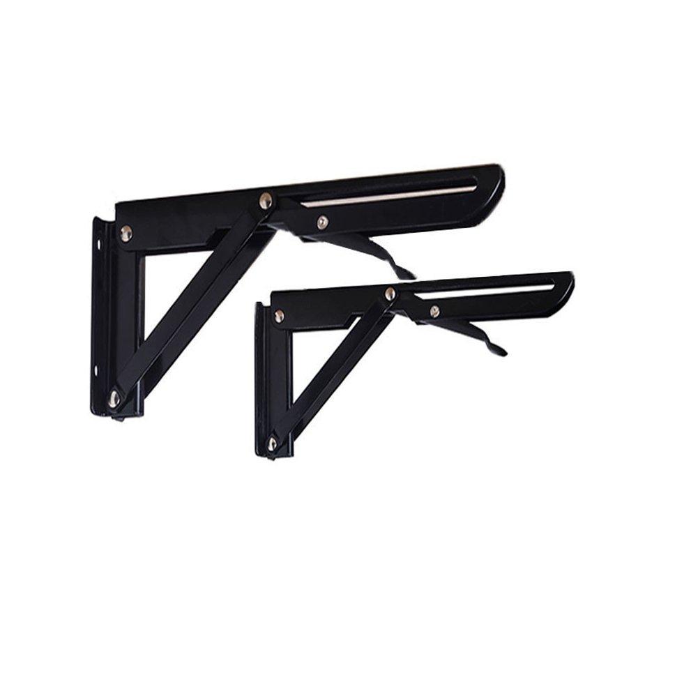Eforlike 2 Pcs Heavy Duty Black Folding Spring Loaded Supports Shelf Brackets (Large) by Eforlike