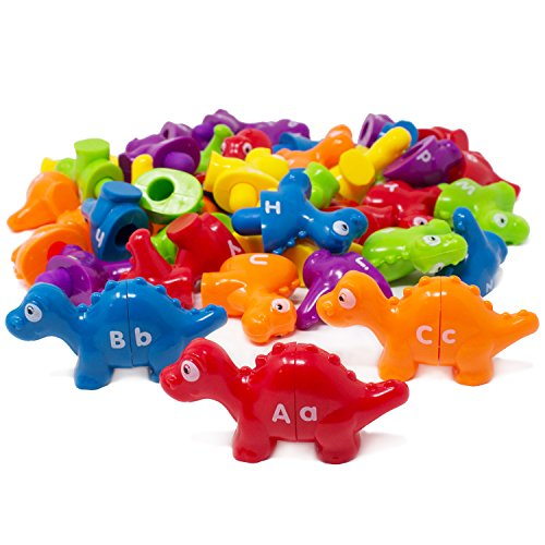 Boley 52 Piece Alphabet Dinosaurs - Educational Dinosaur Alphabet Matching Toy Set for Kids, Children, Toddlers - Great Learning Tool for Toddlers to Learn The Alphabet!