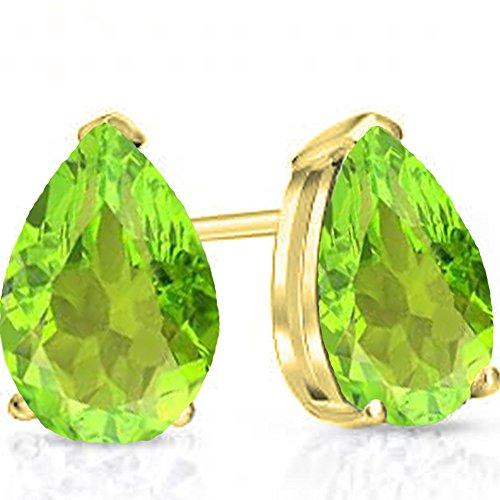 14K Yellow Gold 7X5 MM Each Pear Peridot Ladies Solitaire Stud Earrings