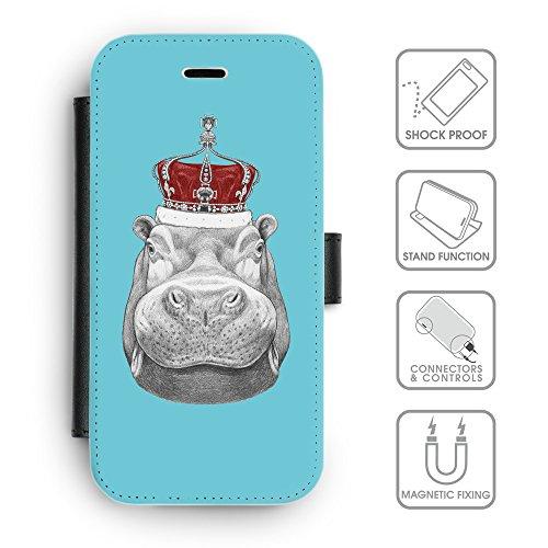 Flip PU Leather Wallet Case avec des fentes de carte de crédit // Q05260627 hippopotame Cyan // apple iphone 7 2016