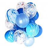 Blue, Marble and Silver Confetti Balloons by Smiling Wolf, Set of 20 pcs, Party Decoration, 12 inch, for Wedding Party, Baby Shower, Birthday Party, Photobooth, 20 Pack