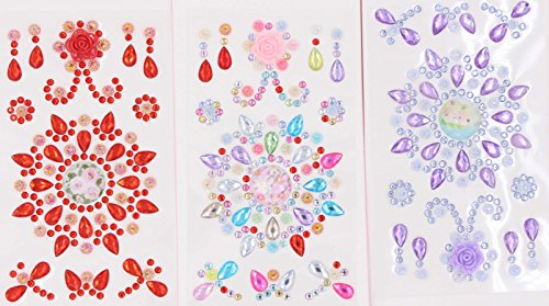 Crystal Gem Stickers - LeBeila Self-Adhesive Rhinestones Stickers For Crafts Bling Craft Jewels Crystal Gem Stickers Flat Back Rhinestone Embellishments Sheets For Kids/Phone/Cups(3pcs, Multi-color)