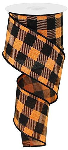 Plaid Check Wired Edge Ribbon - 10 Yards (Orange, Black, 2.5