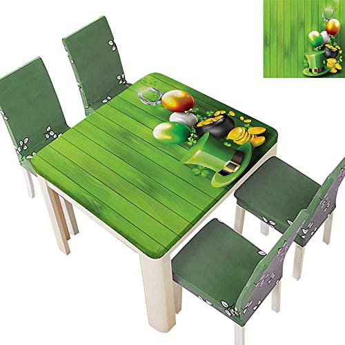 Printsonne Indoor/Outdoor Spillproof Tablecloth Wood with Shamrock Lucky Clovers Pot of Gold Coins and Horse Shoe Restaurant Party 50 x 50 Inch