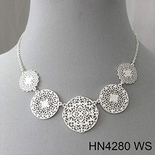 Simple Style Silver Finish Circular Filigree Laser Cut Charm Pendant Necklace LL-2185 ()