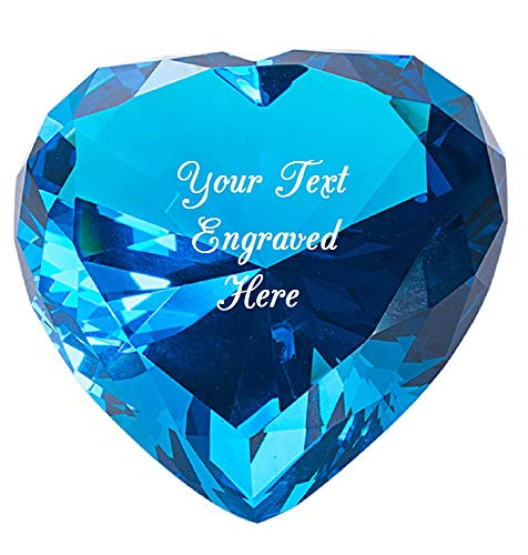 Personalized Custom Laser Engraved Crystal Diamond Keepsake Heart Shaped for Birthday/Valentine's Day/Mother's Day/Anniversary. (Lake Blue)