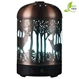 Essential Oil Diffusers -120ml Cool Mist Humidifier -15 Color LED Nihgt Lamps -Crafts Ornaments All in 1 is The Round Rich Upgrade Whisper-Quiet Ultrasonic Metal Deer Humidifiers US 120V