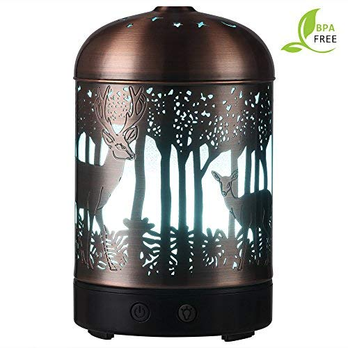 Essential Oil Diffusers -120ml Cool Mist Humidifier -15 Color LED Nihgt lamps -Crafts Ornaments All in One is The Round Rich Upgrade Whisper-Quiet Ultrasonic Metal Deer Humidifiers US 120V