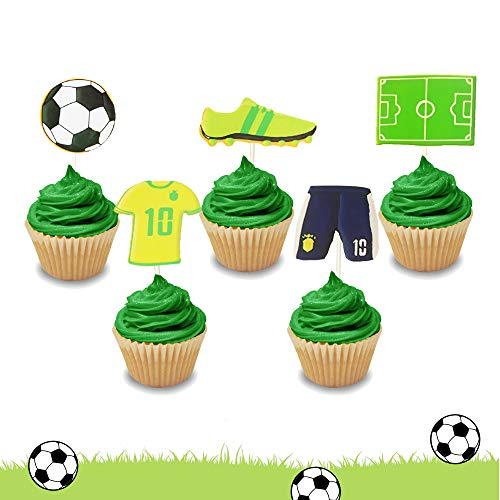 LaVenty Set of 30 Soccer Cupcake Toppers Soccer Ball Cupcake Toppers Football Cupcake Topper Sport Cake Decoration for Soccer Party Decorations Sports Party Decorations (Football Cup Cake Topper)