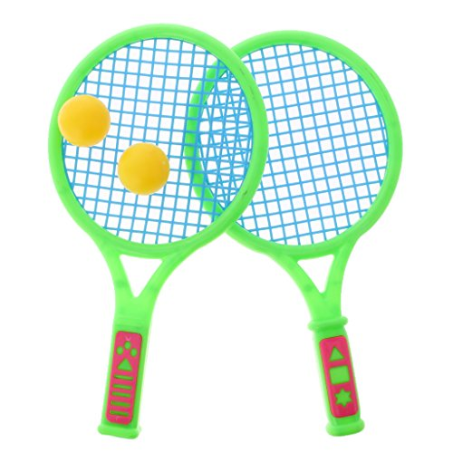 (MonkeyJack Children 2 Player Tennis Racket Set with Ball Plastic Outdoor Kids Toy Playset - Small)