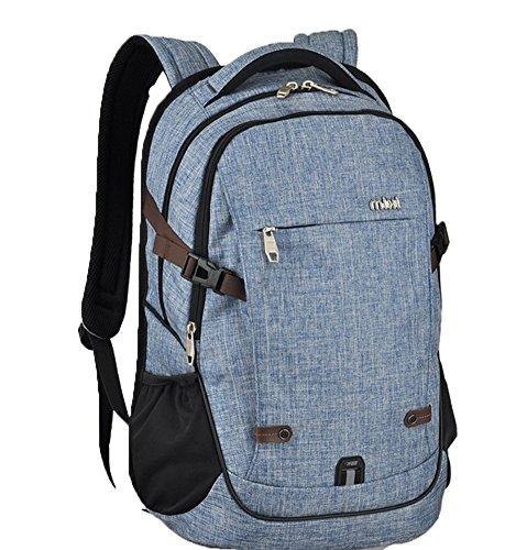 Everdoss Herren Damen Baumwolle Schulrucksack Schulranzen Schultasche modisch Reiserucksack Laptoprucksack Blau