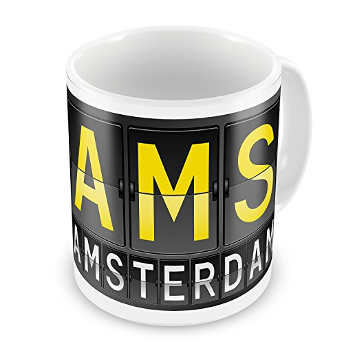 (Coffee Mug AMS Airport Code for Amsterdam - NEONBLOND)