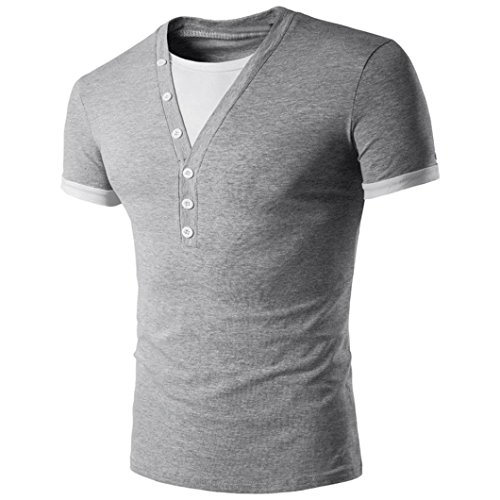hombres para corta OverDose camiseta manga Gris Camiseta moda cuello en empalme V Uxw5qz