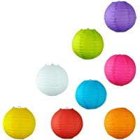 LIDORE 8 Inch Assorted Different Multi Color Chinese Paper Lanterns Lamps Pack of 8 Piece