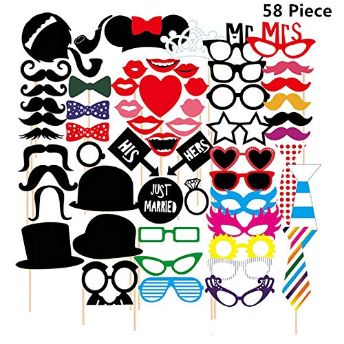 58pcs Christmas Party Photo Booth Props with Sticks, Carnatory Funny Xmas Selfie Props Accessories for Christmas Event Party Favors and Christmas Decorations Art Crafts.