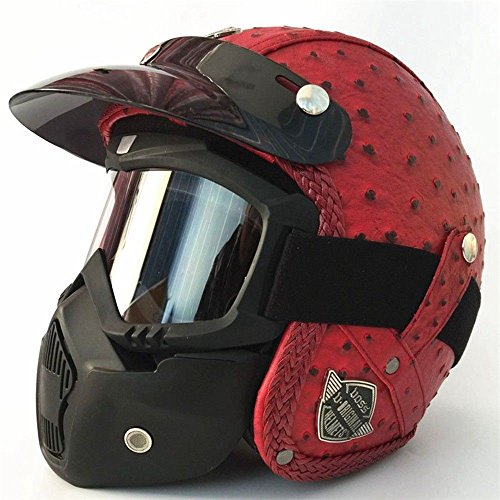5d4ca3b31b297 Tookkata Universal Motorcycle Vintage Leather Harley Helmet Scooter 3 4  with Face Mask (M 57x58 cm