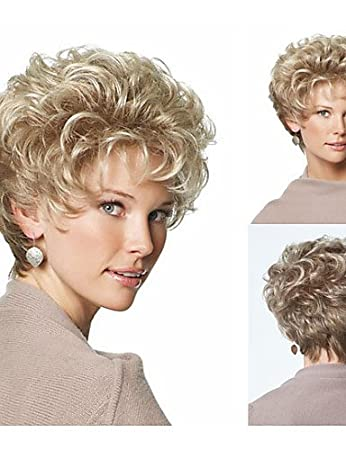 Beauty Fashion Wigs Classic Pixie Synthetic wigs Short Curly hair Blonde wigs for women Natural wigs