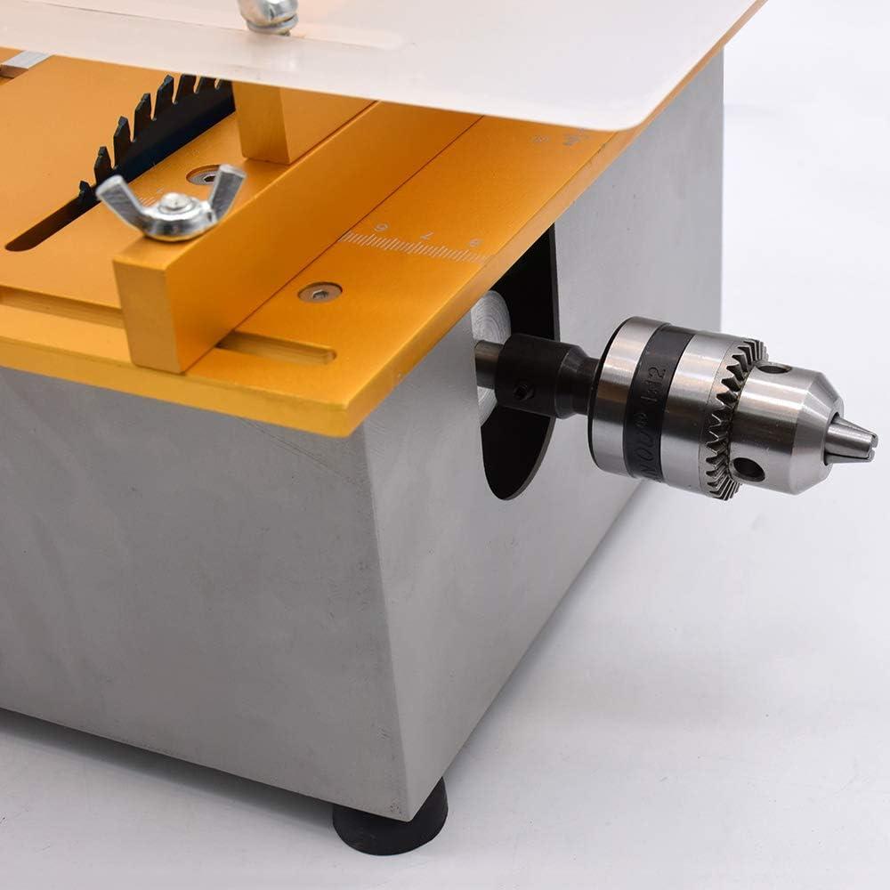 Tischkreiss/äge Mini Holzbearbeitung DIY Modellschneidemaschine 110-240V Portable Holz DIY Tischkreiss/äge Modellschneidemaschine mit B12 Chuck Elektrische Poliermaschine UNJ Advanced Set Golden