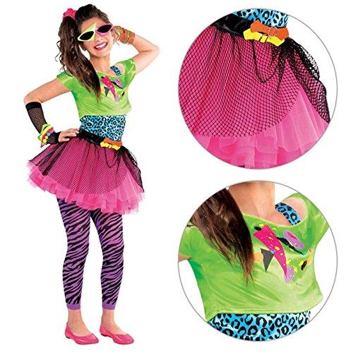 Disfraz para niñas de vestimenta de los años 80, en colores neón, con tutú: Amazon.es: Ropa y accesorios